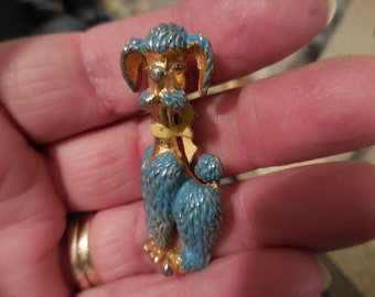 Vintage Gold Tone Blue and Yellow Enamel Poople Pin/Brooch 1950s to 1960s Dog