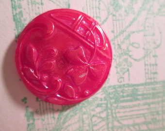 Czech glass button vintage red clover leaf