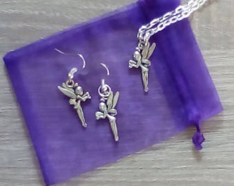 Tinkerbell Fairy Neclace and Earring Jewellery Set