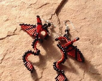 Black and Crimson Faerie Dragon Earrings on Sterling Silver French Wires Wear them for a Fantasy Wedding or LARPing or Just for Fun.