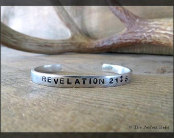 Cuff, Silver, Aluminum, Revelations 21:5 , Religious, Christianity, Spiritual, Make All Things New