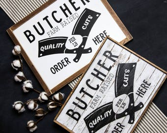 Butcher Wood Sign Farmhouse style Crisp or Distressed/Farmhouse/Fixerupper