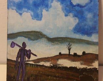 Traveler, ACEO ATC Original Tiny Painting by Dakota Jernigan