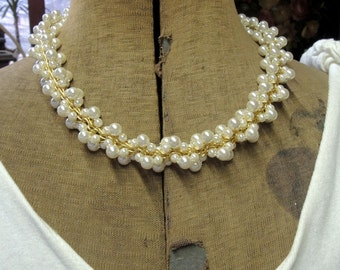 Pearl Choker Necklace - Gold And Pearls - Bridal Jewelry - Mother Of The Bride Necklace - REDuCED