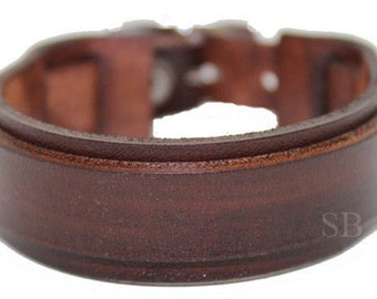 SB genuine leather bracelet leather cuff first class leather wristband leather strap bracelet men's bracelet Brown