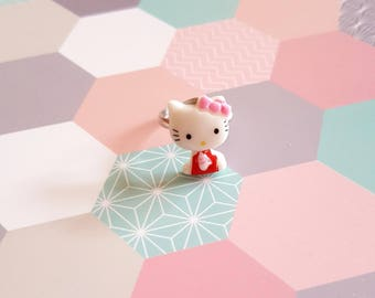 Child Adjustable ring with a kitty cat resin