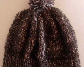 Small black and grey - 6/8 years Bobble Hat