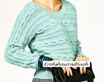 Cable Sweater, Plus Sizes, Knitting Pattern. PDF Instant Download.