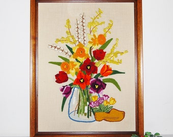 Vintage Yarn Art Vase of Flowers with Wooden Shoes......Large