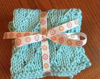 Set of 3 knit dish cloths/wash cloths/spa cloths