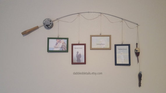 Fishing Pole Picture Frame - Silver or Brown Pole - 4 - 4 in x 6 in Picture Frames - Med Green, Dark Red, Khaki Tan, Deep Blue