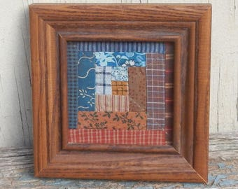 Small Framed Quilt Square Primitive Picture!