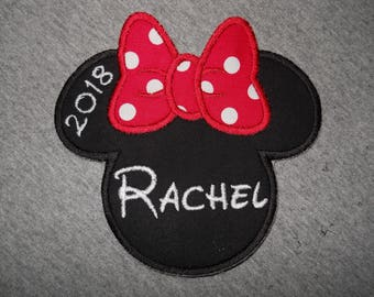 Made to order ~ Personalized Name & Year Miss Mouse (red) iron on or sew on applique patch