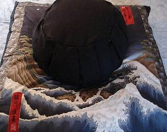 Meditation Cushion Set Handcrafted Zafu and Zabuton Hokusai's Wave Mt. Fuji on Black