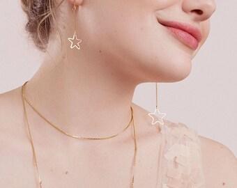 Asymmetrical Star Earrings - Brass Jewelry - 80s Earrings - All Star Earrings (SD1324)