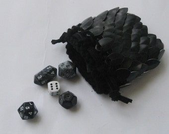 Dice Bag in Dragonhide knitted Scalemail Armor small size