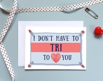 Anniversary Card, Triathlon Card,Love card,  Card for him, her, triathlete, Ironman, Tri, Personalise Valentine