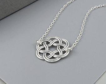Celtic Circle Necklace, sterling silver, irish celtic knot necklace