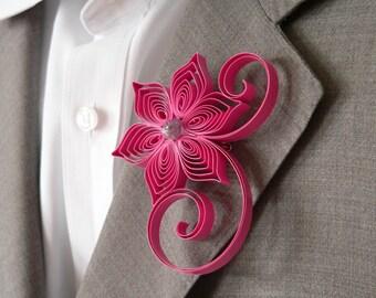 Fuchsia Boutonniere, Magenta Buttonhole, Magenta Wedding Boutonniere, Mens Wedding Boutonnieres