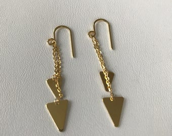 14k Solid Gold Triangle Threader Earrings