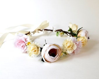 Handmade Flower Crown, Floral Crown, Wedding Flower Crown, Flower Girl Flower Crown, Bridal Headpiece, White Flower