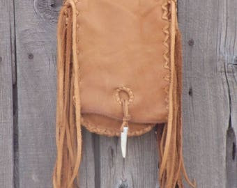 Handmade leather purse with fringe , Fringed leather handbag , Fringed possibles bag