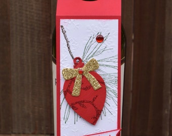 Christmas Wine Tag, Christmas Hostess Gift, Ornament Wine Tag, Hostess Gift Tag, Wine Tag, Wine Bottle Hanger