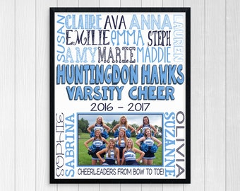CHEER COACH GIFT ~ Cheer Poster ~ Cheerleading Gift ~ Printable Cheer Subway Art ~ High School Cheer ~ Cheer Team Photo ~ Cheer Squad Gift