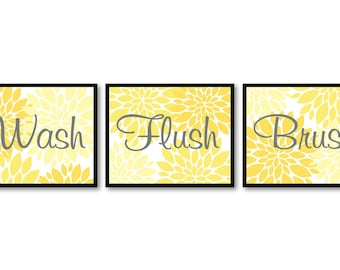 Bathroom Wall Art Yellow Grey Gray Dahlia Flower Print Set of 3 Wash Flush Brush Art Prints Bathroom Wall Decor Modern