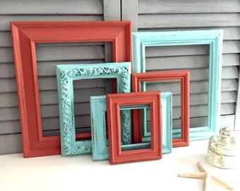 Custom Coral and Turquoise Frame Set; Hand-Painted Gallery Wall Frames; Distressed Frame Set;