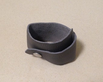 Recollection: Grey Asymmetrical Leather cuff