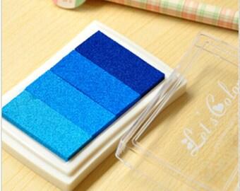 Blue Stamp Ink Pad - Gradient Color Print Ink Pad - DIY Oil Based Print Craft Pad For Rubber Stamps Paper Wood