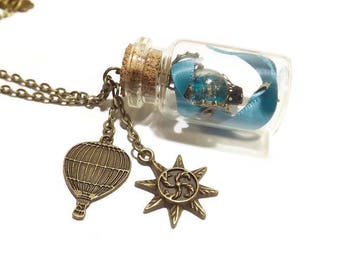 """Steampunk retro neckalce with glass bead worked, glass jar and balloon charm, """"Wind in bottle"""""""