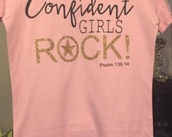 girl tees, pink, bling, glitter, gold, short-sleeve, girls retreat shirts, girls, women's, confident, empowerment, girls rock