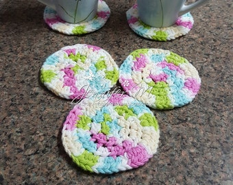 Crochet Coasters or Scrubbies in Fresh Spring Colors