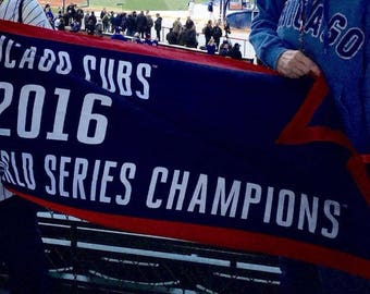 Chicago Cubs 2016 World Series Championship Flag, Wrigley Field Raised 3 x 5 ft Banner, Chicago Cubs 2016 Champions Vintage Replica Pennant