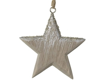 Silvery Wooden Hanging Star