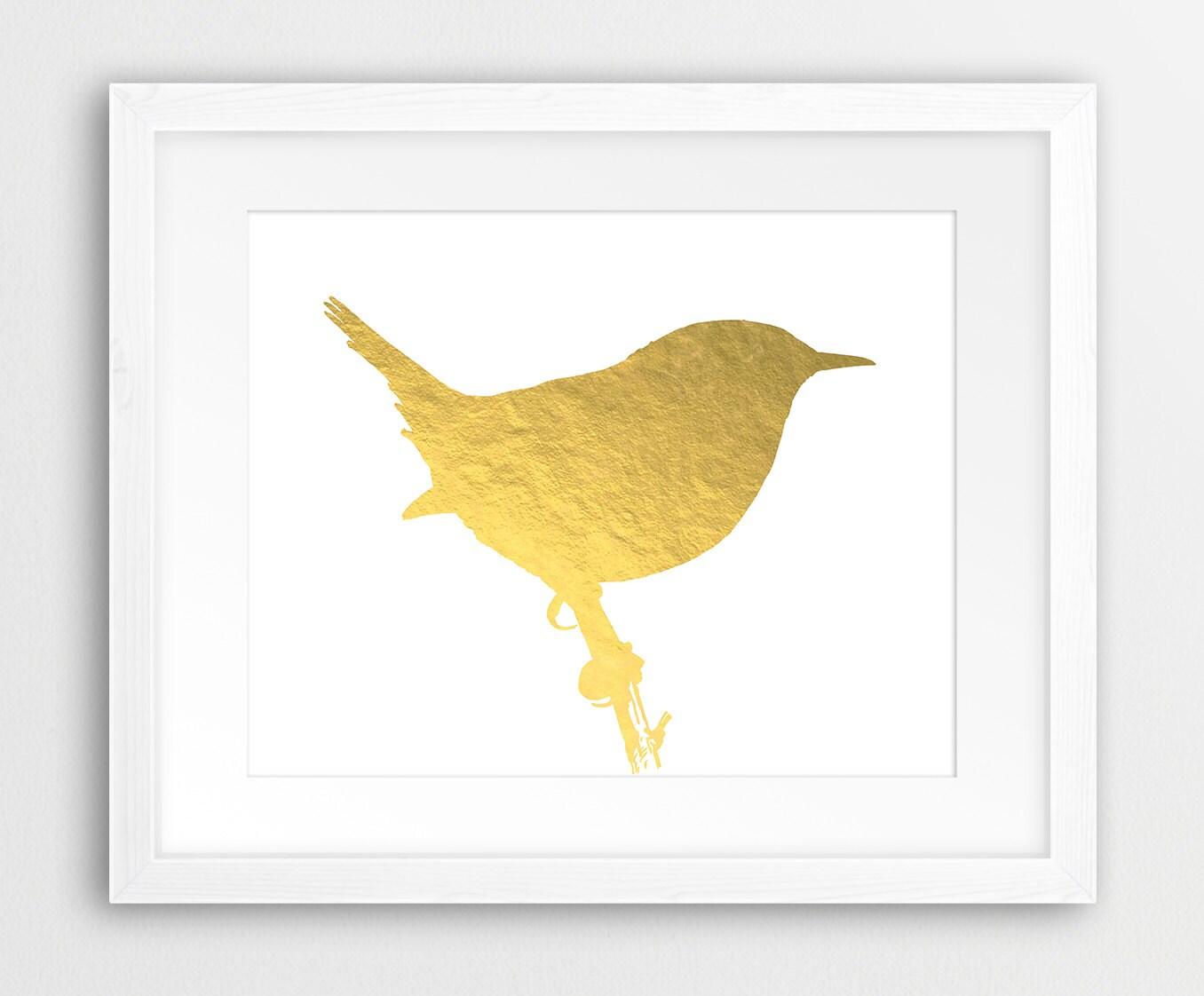 Gold Bird Print Bird Silhouette Gold Foil Texture Gold Bird