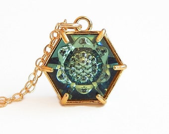 Erinite green hexagon necklace - Swarovski crystal - green crystal pendant - crystal hexagon - hexagon pendant - erinite necklace - greenery