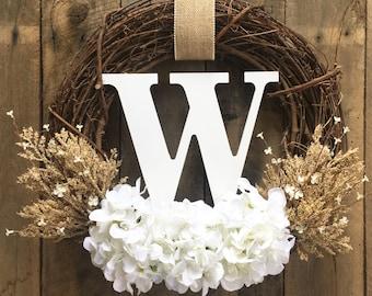 Wreath For Door, Monogram Wreath, Front Door Wreath , Farmhouse Wreath, Door Wreath, Wedding Gift, Wreath With Letter, Bridal Shower, Decor