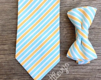 Father and Son Tie Set - Yellow and Blue tie - Father and son matching ties - yellow ties - ties for men - men's ties - aqua ties