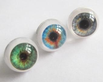 Pair Blue/Grey/Green Doll Eyes, Realistic Doll Eyes 15 mm, BJD, Craft Doll Eyes, Toy Eyes