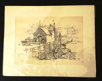 Fisherman's Dock Lithosketch by Curhan Company Gloucester Massachusetts Vintage Print #129 Cape Cod Lobster Traps  Black & White Art c. 1950