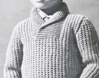 Childrens shawl neck pullover knitting PDF / Size 2, 4 and 6 Boy Girl  Pullover