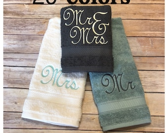 Mr Mrs towels, 20 colors, 6 sizes, august ave, wedding, wedding gift, his and hers, Mr. and Mrs., Mr and Mrs, bath towels, wedding towels