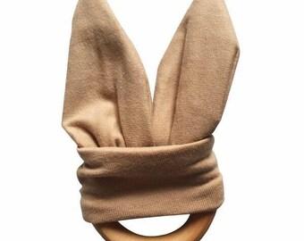 Crinkle Bunny Ears Teether Toy | Camel