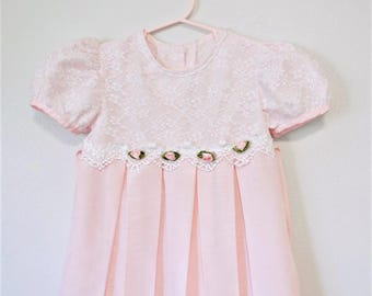 Toddler's Vintage Dress Pink Flower Girl Lace Pleated Bow Tie Size 4 Bonnie Jean