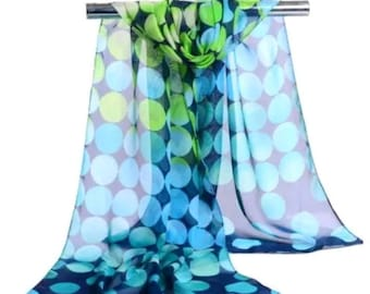 Large Spot chiffon scarf - Graduating colours - Blue and Green