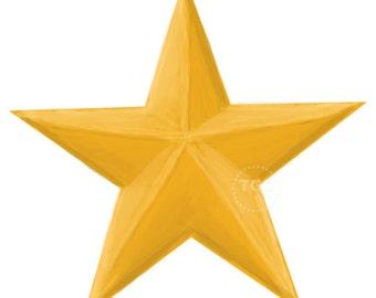 Gold Star Clip Art - Hand Painted Clip Art, Gold Star Graphic, star design clip art