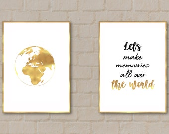 Let's make memories all over the world, blak and gold digital print, quote about traveling,  digital art by SmARTiful